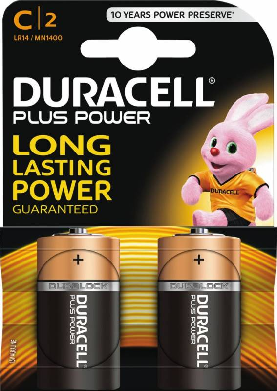 Image of   Batteri Duracell Plus Power C 2stk/pak