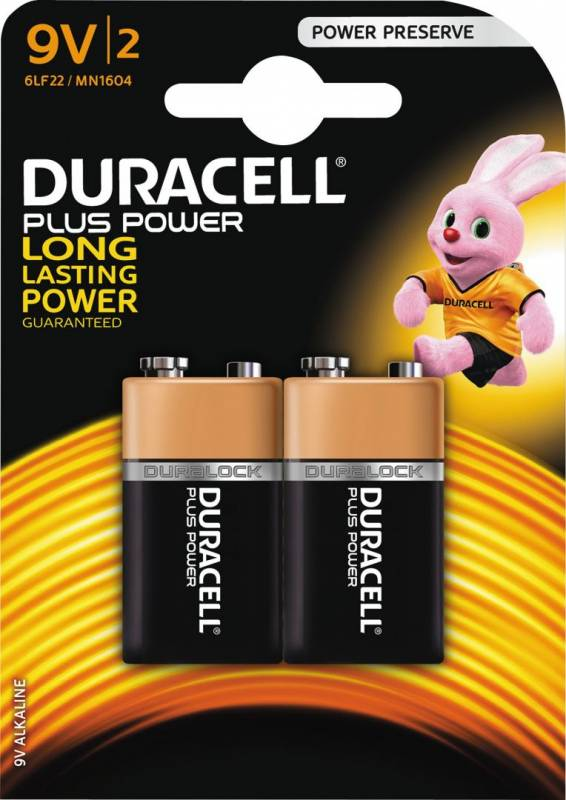 Image of   Batteri Duracell Plus Power 9V 2stk/pak