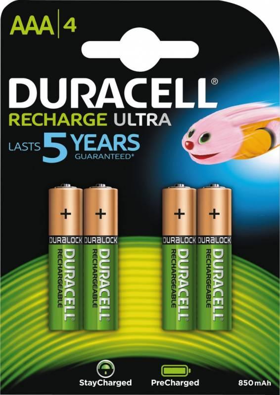 Image of   Batteri Duracell genopladelig AAA 850mAh 4stk/pak
