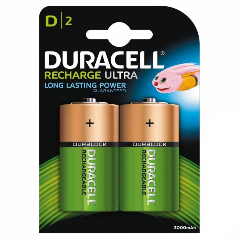 Image of   Batteri Duracell genopladelig D 3000mAh 2stk/pak