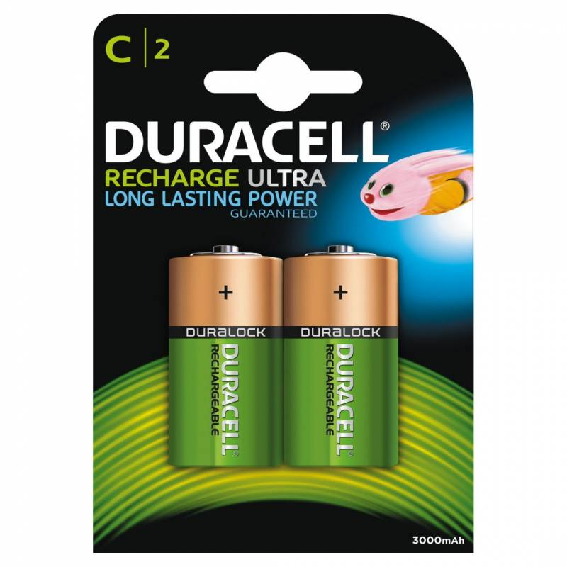 Image of   Batteri Duracell genopladelig C 3000mAh 2stk/pak