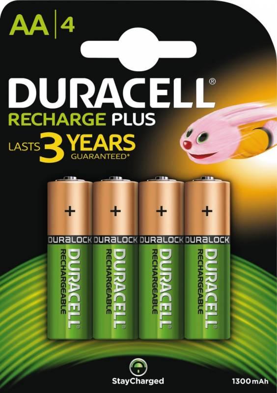 Image of   Batteri Duracell genopladelig AA 1300mAh 4stk/pak
