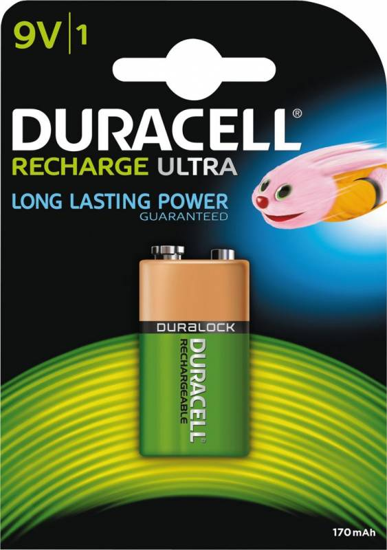Image of   Batteri Duracell genopladelig 9V 170mAh 1stk/pak