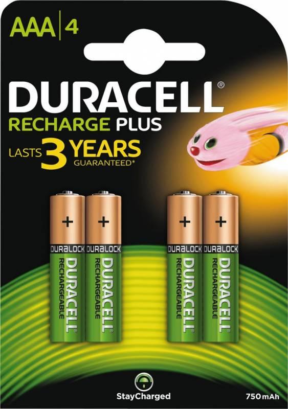 Image of   Batteri Duracell genopladelig AAA 750mAh 4stk/pak