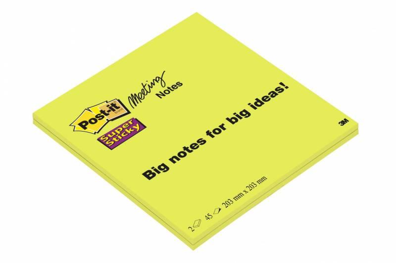 Image of   Post-it Super Sticky mødeblok 200x200mm 2blk/pak lime