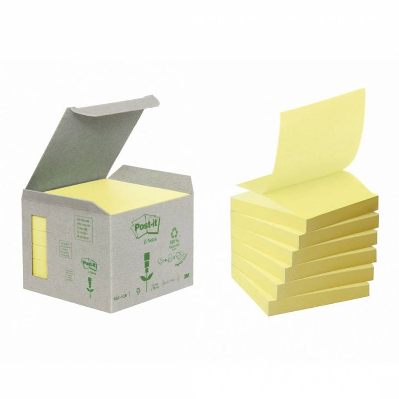 Image of   Post-it blok Miljø 76x76mm z-fold gul 6blk/pak