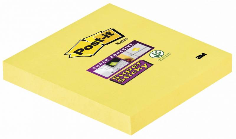 Image of   Post-it blok Super Sticky 654 gule 76x76mm 90bl. 12blk/pk