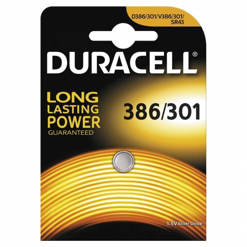 Image of   Batteri Duracell 386/301 1,5V Silver Oxide 1stk/pak