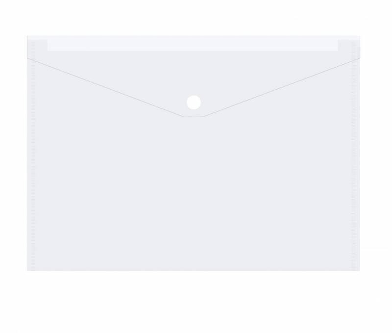 Image of   Plastmappe PP A4 transparent m/klap og trykknap