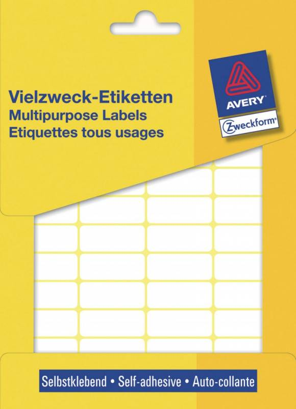 Image of   Etiket Avery hvid 29x18mm 3319 960stk/pak