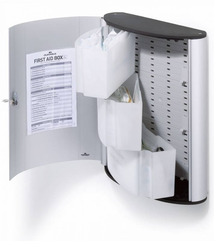 Billede af Førstehjælpsskab Durable m/indhold L First aid box alu