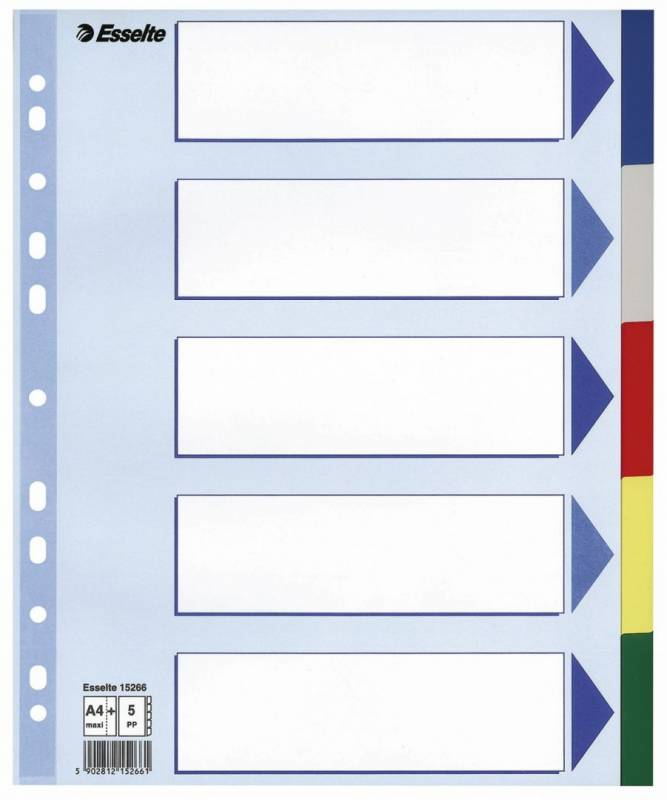 Image of   Faneblade Esselte A4 Maxi plast 5-delt 15266