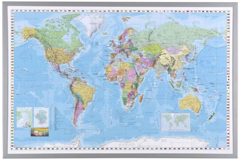 Image of   Indrammet verdenskort 60x90cm - på engelsk