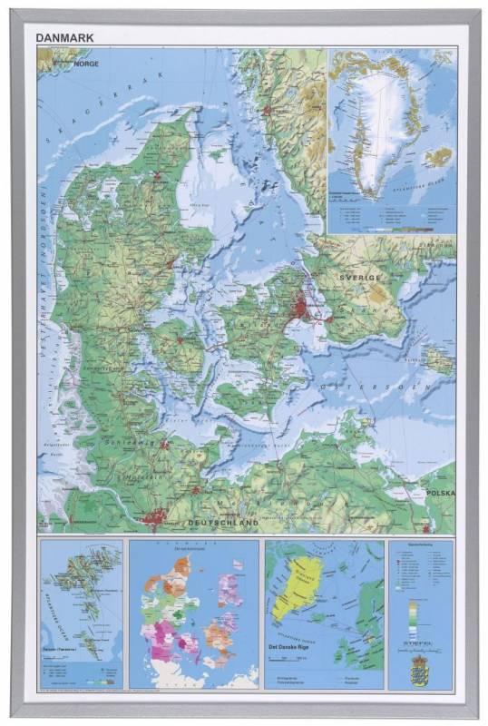 Billede af Indrammet Danmarks kort 60x90cm
