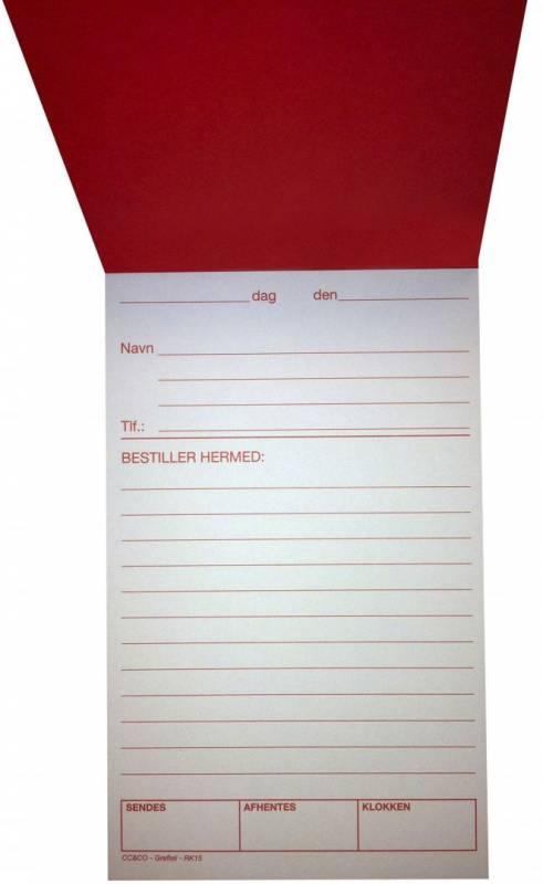 Image of   Bestillingssedler m/rødt tryk 11x19,5cm 100bl RK15