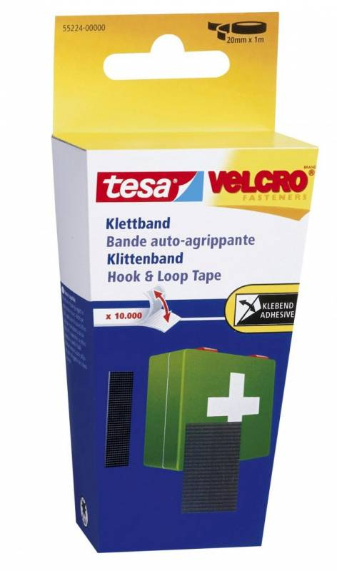 Burretape tesa Velcro sort 20mmx1m/pak 55224