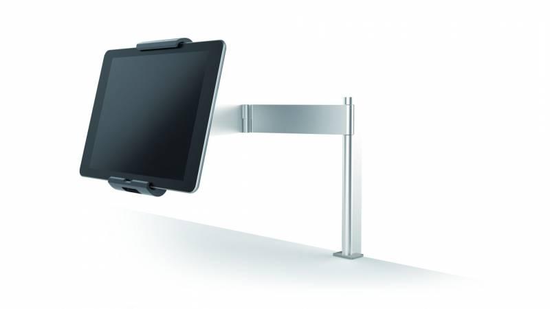 Holder til tablet bord med klemme sølv