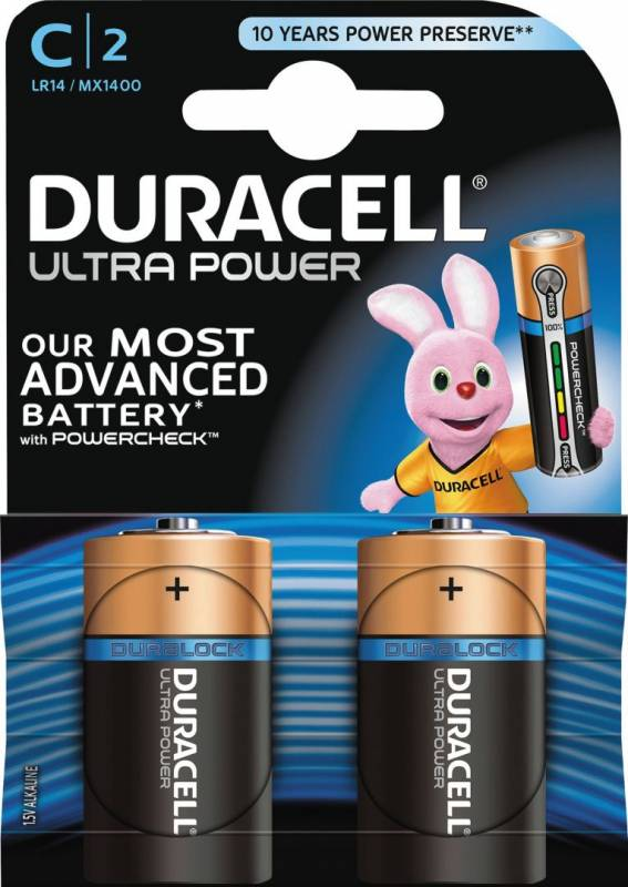 Image of   Batteri Duracell Ultra Power C alkaline m/tester 2st/pkt