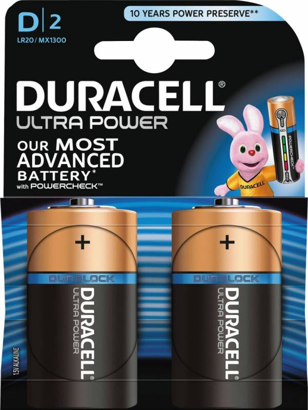 Image of   Batteri Duracell Ultra Power D alkaline m/tester 2st/pkt