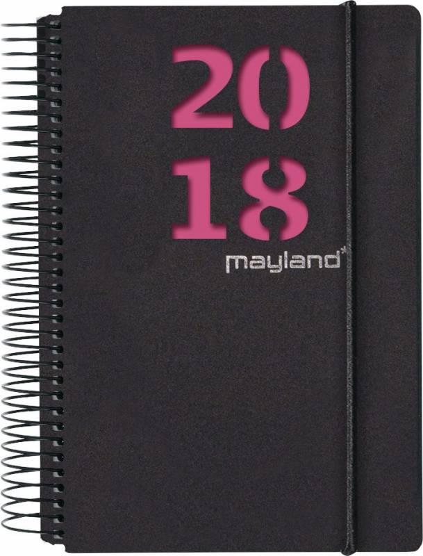 Billede af Spiralkalender sort 2fv. bl. 12x17cm 1 dag/side 18 2080 40