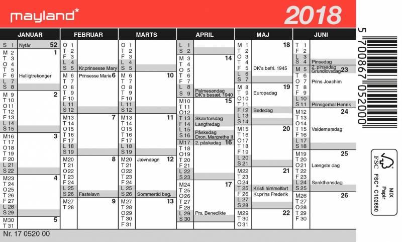 Billede af Mini kalender 12x7cm 18 0520 00