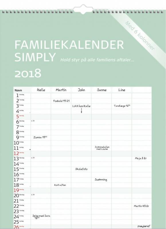 Billede af Familiekalender Simply 29,5x39cm 18 0663 60