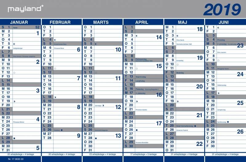 Billede af Kartonkalender halvårs 44x29cm 19 0630 00
