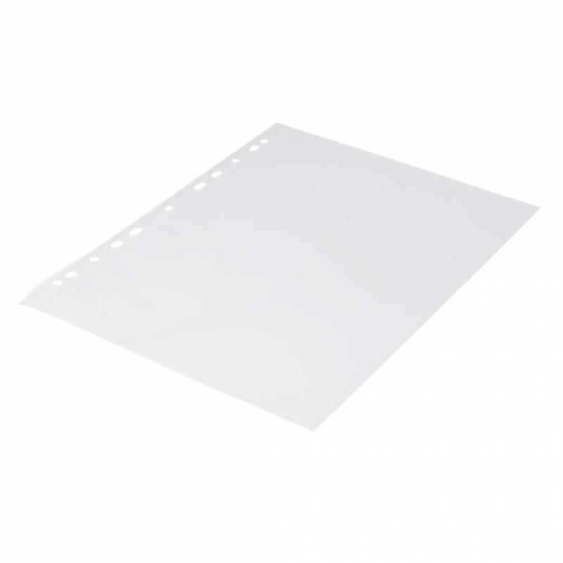 Billede af Plastlomme 0,12mm A4 med præg 100stk/pak Q-line m/hvid hulkant