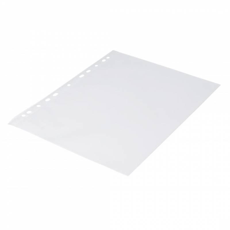 Billede af Plastlomme 0,09mm A4 med præg 100stk/pak Q-line m/hvid hulkant