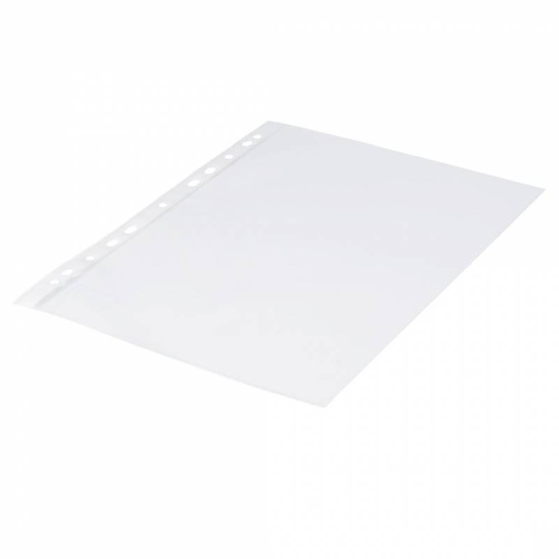 Billede af Plastlomme 0,11mm A4 glasklar 100stk/pak Q-line m/hvid hulkant