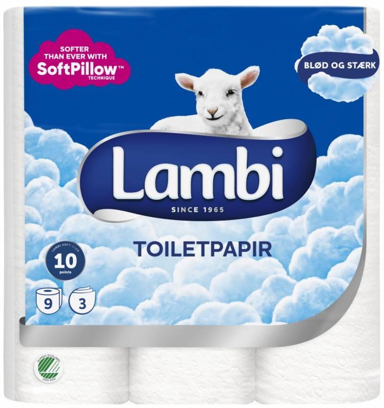 Billede af Toiletpapir Lambi 3-lags 21,25m 27651 36rul/kar