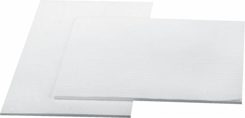 Billede af Standardblok linjer 60gr. hvid u/huller A3