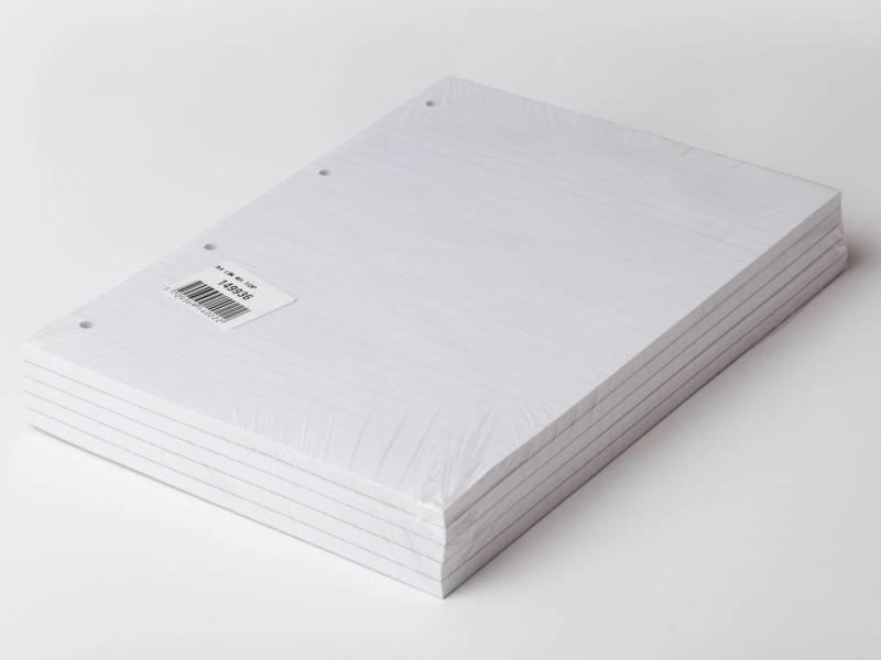 Billede af Standardblok 4 huller lin. toplimet 60g hvid A4