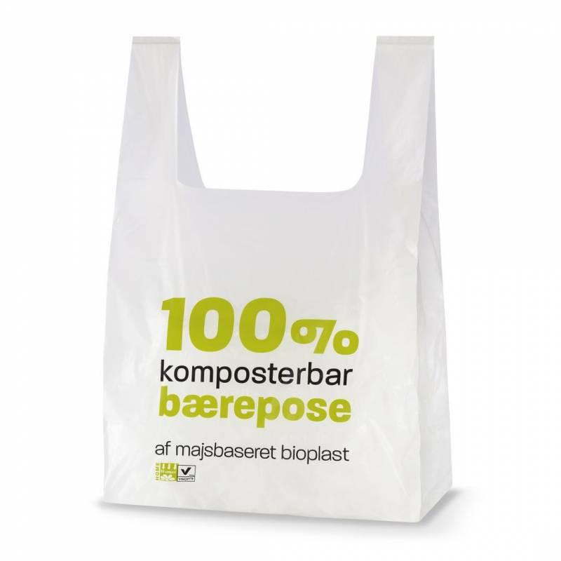 Bærepose bioplast hvid 18my 300/75x550mm 500stk/ka