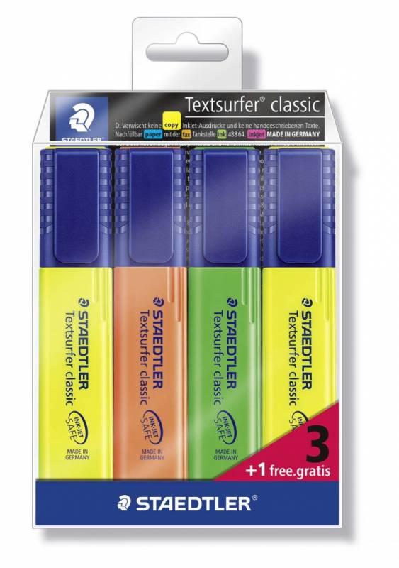 Tekstmarker STAEDTLER 364 ass. Textsurfer Classic inkjet 3+1/sæt