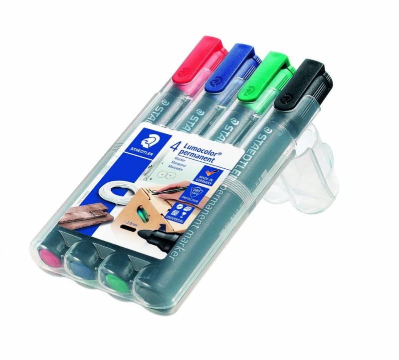 Marker STAEDTLER Lumocolor permanent assorteret 2mm rund spids 4stk/sæt 352