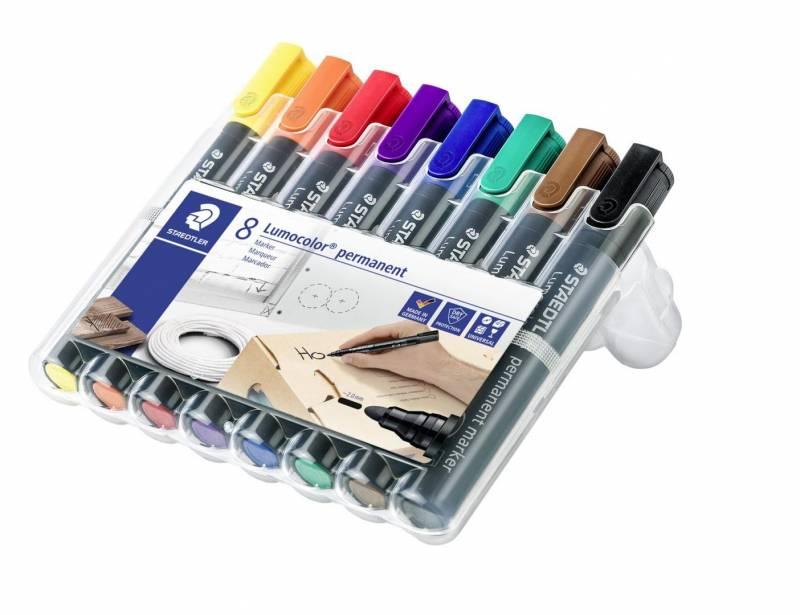 Marker STAEDTLER Lumocolor permanent assorteret 2mm rund spids 8stk/sæt 352