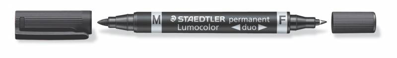 Image of   Marker Lumocolor Duo permanent F 0,6mm /M 1,5mm sort 348