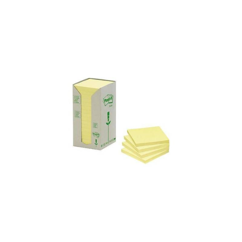 Post-it notes gul 76x76mm genbrug 16blk/pak