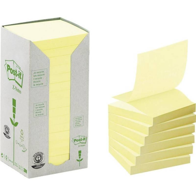 Image of   Post-it z-notes gul 76x76mm genbrug 16blk/pak