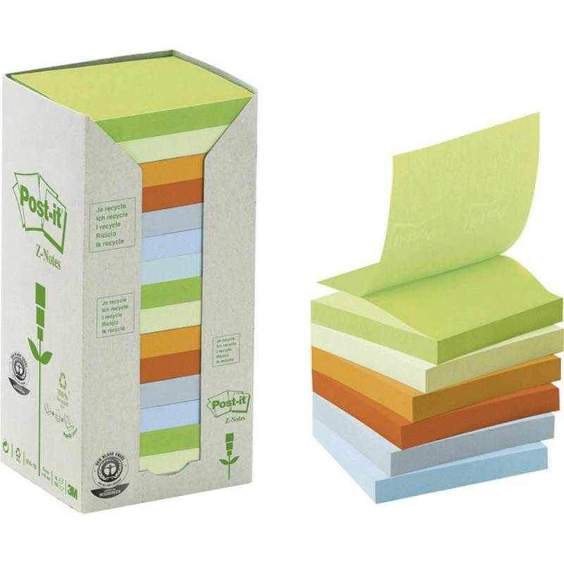 Image of   Post-it notes regnbue 76x76mm genbrug 16blk/pak