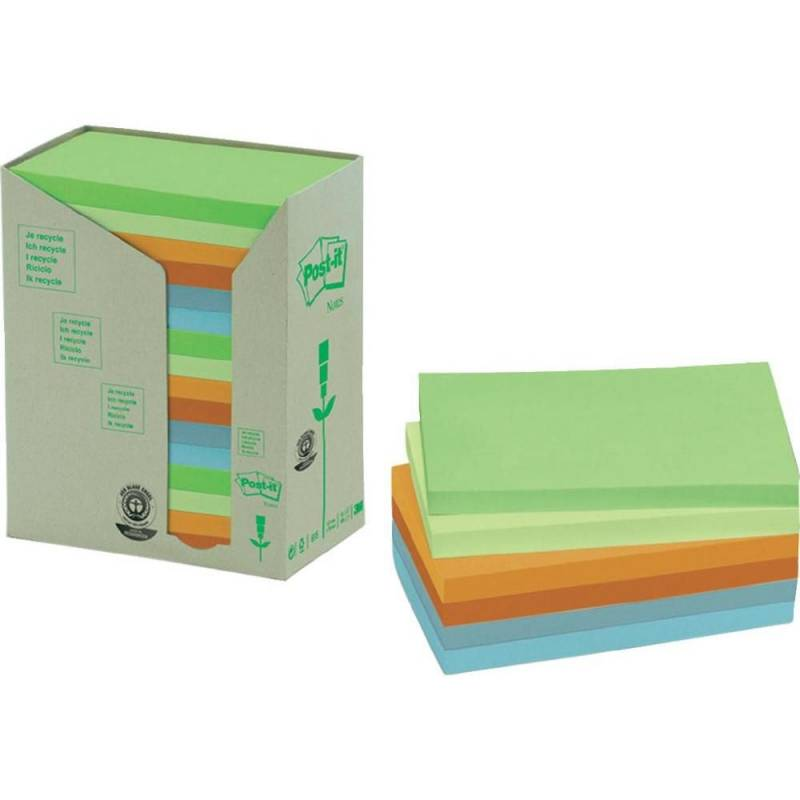Post-it notes regnbuef. 76x127mm genbrug 16blk/pak