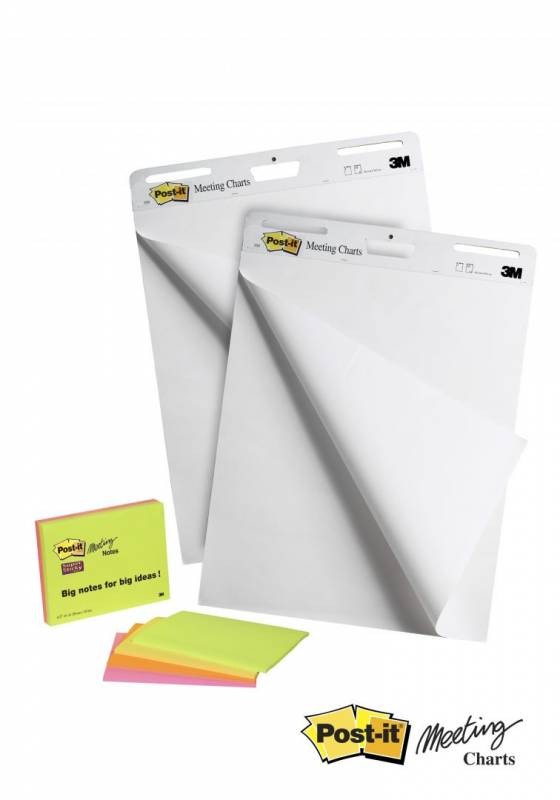 Image of   Post-it Super Sticky Meeting Chart hvid 2blk 635mmx762mm + 4 Meeting Notes