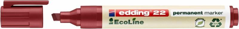 Image of   Marker edding 22 EcoLine rød perm. 1-5mm skrå spids