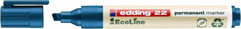 Image of   Marker edding 22 EcoLine blå perm. 1-5mm skrå spids