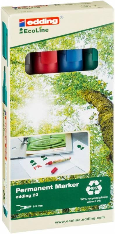Image of   Marker edding 22 EcoLine ass. perm. 1-5mm skrå spids 4stk/sæt