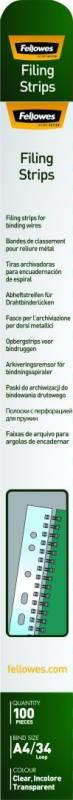Arkiv strips A4 Fellowes t/wirespiraler klar 100stk/pak