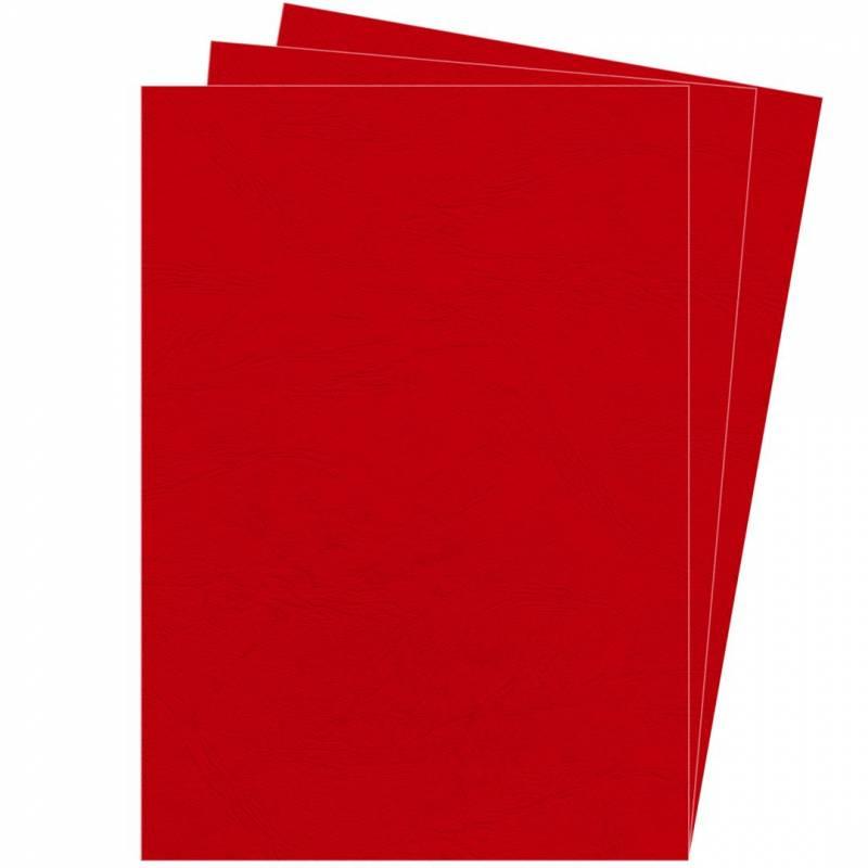 Image of   Kartonforside til indbinding Fellowes A4 250g rød Delta leatherboard 100stk/pak