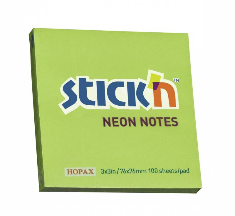 Image of   Notes Stick'N NEON grøn 76x76mm 100blade