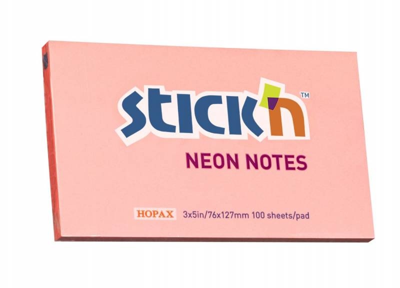 Notes StickN NEON rosa 76x127mm 100blade